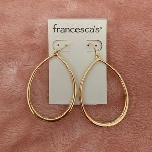 Francesca's Collection Gold Oval Hanging Earrings